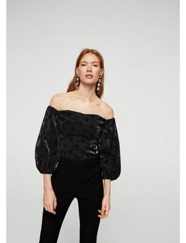 Μπλούζα βελούδινη πουά by Mango