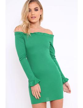 Green Ribbed Ruffle Long Sleeve Bardot Dress   Madison by Rebellious Fashion