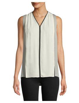 Lacina V Neck Sleeveless Colorblock Silk Blouse by Elie Tahari