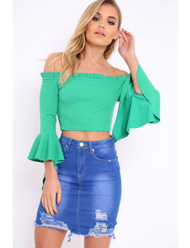 Green Bardot Frill Crop Top With Flared Sleeves   Tiffy by Rebellious Fashion