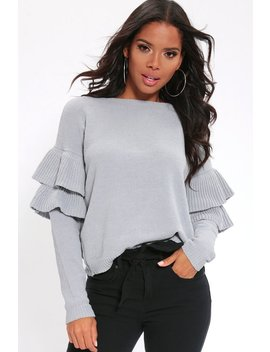 Grey Chenille Loose Fit Jumper With Double Frilled Sleeves by I Saw It First