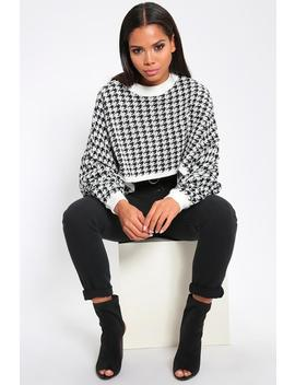 Black/White Dogstooth Cropped Jumper by I Saw It First