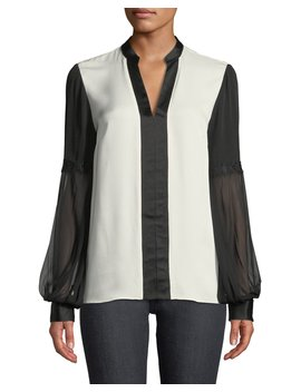 Valere Two Tone Silk Blouse by Elie Tahari