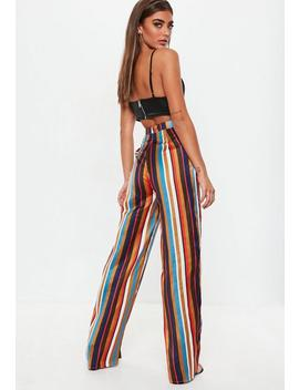 Orange Satin Stripe Wide Leg Trousers by Missguided