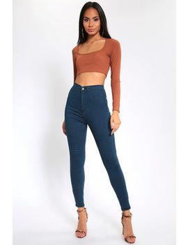 Blue High Waisted Skinny Jeans by I Saw It First