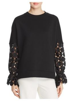 Chantae Lace Sleeve Sweatshirt by Elie Tahari