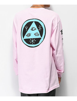 Welcome Tali Scrawl Pink Long Sleeve T Shirt by Welcome Skateboards