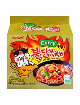 (Value Family Pack) Samyang Korean Hot Chicken Flavor Ramen   Curry (5 Pks) (Korean Spicy Nuclear Fire Noodle) by Zhawang
