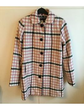 """Miss Selfridge Pink Check Wool Blend Coat   Size 8 Approx 34"""" Bust by Ebay Seller"""