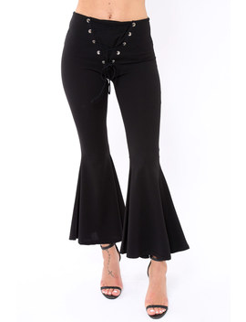 Black Flare Trousers With Lace Up Front   Gaby by Rebellious Fashion