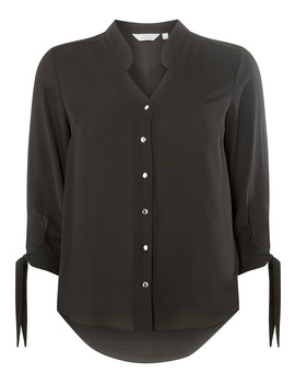 Petite Black Collarless Shirt by Dorothy Perkins