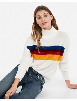 Funnel Neck Striped Pullover Sweater by Express