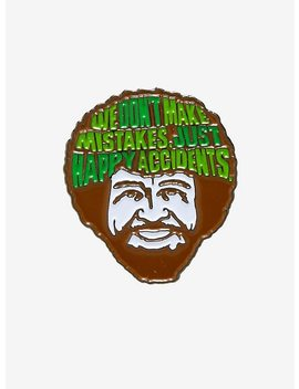 Bob Ross Face Happy Accidents Enamel Pin by Hot Topic