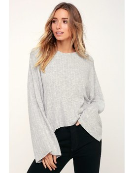 Cuddle Up Love Light Heather Grey Sweater Top by Lulus