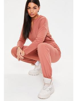 Terracotta Zip Loopback Jumpsuit by Missguided