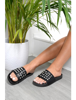 Black Studded Sliders   Heartlyn by Rebellious Fashion