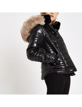 Black Faux Fur Trim High Shine Puffer Jacket by River Island