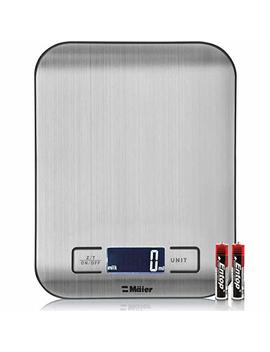 Digital Kitchen/Lab Scale, 30 Percents Greater Accuracy Quad Transducer, Multi Function Back Lit Lcd, Stainless Steel, 11 Lbs, 5 Kg (Batteries Included) by Mueller Austria