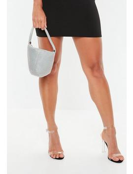 Silver Look Beaded Wrist Bag by Missguided