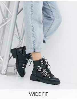 Raid Wide Fit Daelyn Black Lace Up Chunky Hiker Boots by Raid