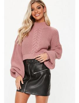 Petite Pink Balloon Sleeve Cable Knit Cropped Sweater by Missguided