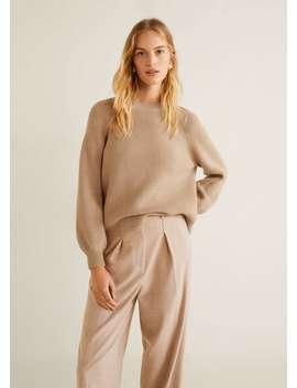 Prążkowany Sweter Z Bufiastym Rękawem by Mango