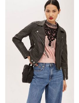 Washed Biker Jacket by Topshop
