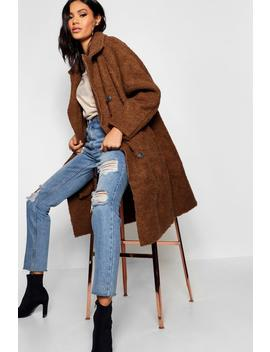 Oversized Double Breasted Faux Fur Teddy Coat by Boohoo