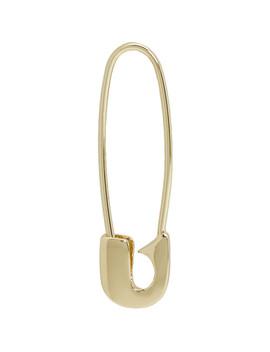Gold Single Safety Pin Earring by Lauren Klassen