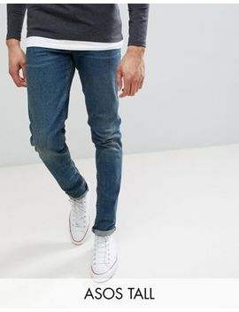 Asos Design Tall Skinny Jeans In Vintage Dark Wash by Asos