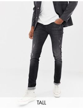 Blend Distressed Slim Fit Jeans In Washed Black by Blend