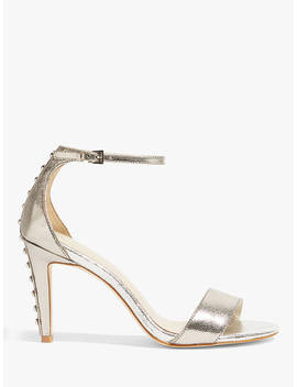 Karen Millen Studded Strappy Stiletto Sandals, Silver Leather by Karen Millen