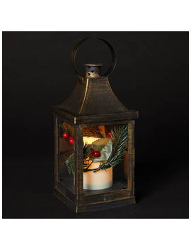 John Lewis & Partners Pre Lit Candle Lantern, Small by John Lewis & Partners