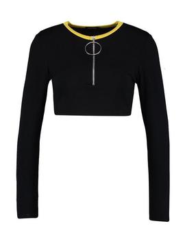 O Ring High Neck Zip Detail Crop by Boohoo