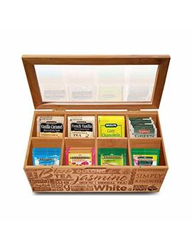 Simply Renewed Tea Box Organizer Chest Decorative Tea Bag Storage Container Bamboo 8 Compartment Box With Magnetic Closure And Ergonomic Front Handle Perfect For Organizing Your Tea Bags by Simply Renewed