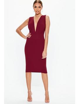 Burgundy Plunge Gathered Midi Dress by Missguided