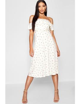 Vintage Floral Print Belted Midi Dress by Boohoo