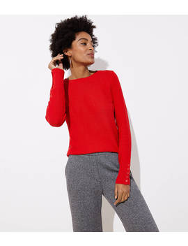 Textured Button Cuff Sweater by Loft