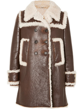 Shearling Trimmed Textured Leather Coat by Miu Miu