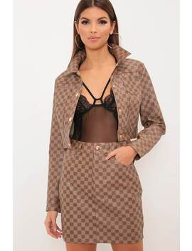 Camel Check Faux Leather Mini Skirt by I Saw It First