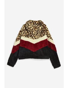 **Leopard Print Borg Fleece Jacket By Jaded London by Topshop
