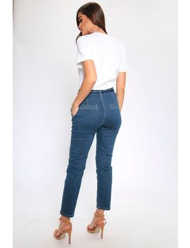 Mid Wash Buckle Belt Paperbag Waist Mom Jeans by I Saw It First