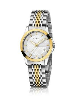 G Timeless Two Tone Stainless Steel Bracelet Watch by Gucci
