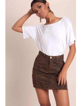 Brown Leopard Print Denim Skirt by I Saw It First