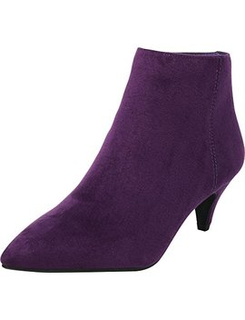 Cambridge Select Women's Closed Pointed Toe Low Heel Kitten Ankle Bootie by Cambridge Select