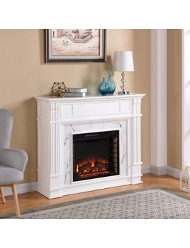 Gracewood Hollow Occom Faux Cararra Marble Electric Media Fireplace by Gracewood Hollow