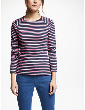Collection Weekend By John Lewis Breton Stripe Top, Pink by Collection Weekend By John Lewis