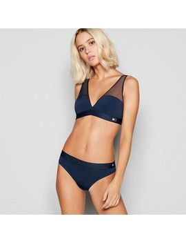Tommy Hilfiger   Navy 'flag' Microfibre Non Wired Padded Triangle Bra by Tommy Hilfiger