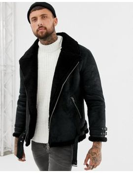 Asos Design Faux Shearling Biker Jacket With Fleece Lining by Asos Design