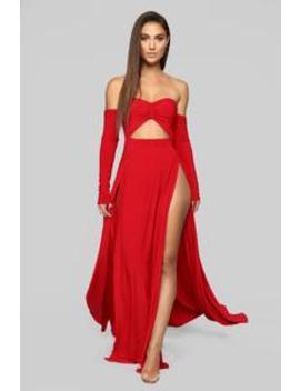 Keep Dreaming Off Shoulder Dress   Red by Fashion Nova